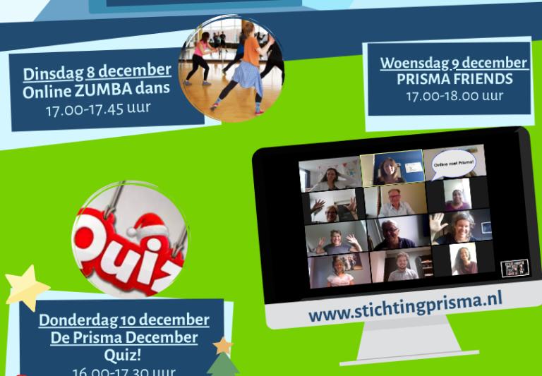 Doe mee met Prisma online!  Dansen, kletsen en een quiz spelen!